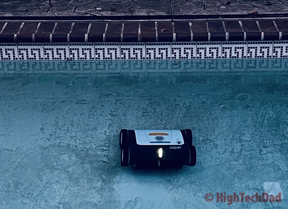 At the side with yellow light on - Aiper Smart AIPURY1500 pool robot cleaner - HighTechDad review